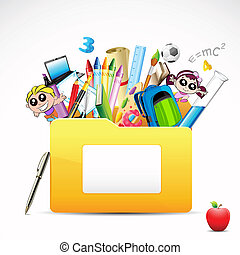illustration of education folder with object on white background