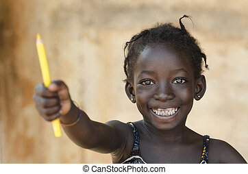 Education for Africa Symbol: Beautiful Young Schoolgirl Toothy Smile