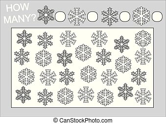 Education for kids. Count how many snowflake and coloring page. Vector illustration.