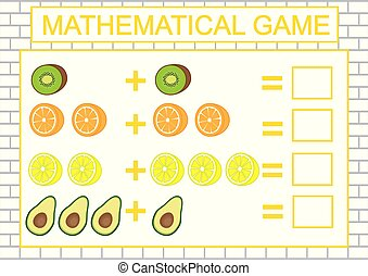 Education for kids. Mathematical task (counting, addition). Vector illustration