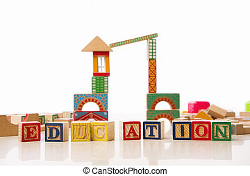 Education for pre school concept from toy and alphabet...