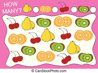 Education for preschool children. Educational game how many objects of fruits. Vector illustration.