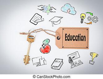 education., fundo branco, tecla