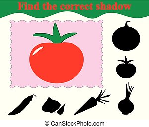 Education. Game for kids. Find the correct shadow of tomato. Vector illustration.