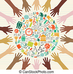 Back to School global icons education diversity human hands. Vector layered for easy personalization.