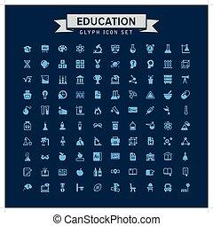 Education Glyph Icon Set