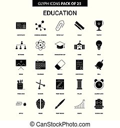 Education Glyph Vector Icon set