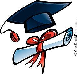 Education - graduation cap, diploma