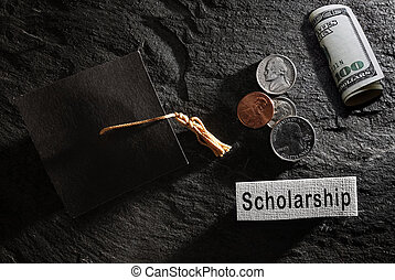 Education graduation cap with Scholarship note and money