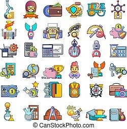 Education grant icons set, cartoon style - Education grant...