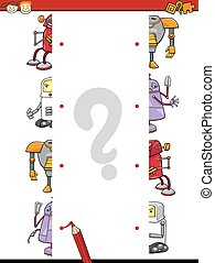 education halves join cartoon game - Cartoon Illustration of...