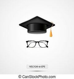 Education hat and eyeglasses. Vector illustration. White background. Graduate cup.