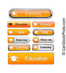 Education high-detailed modern buttons.