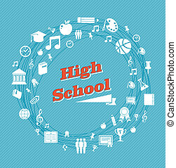 Back to school global icons high school education blue background. Vector layered for easy personalization.