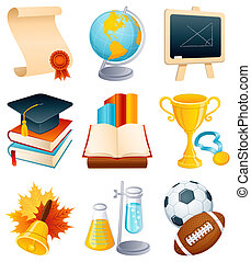 education, icône, ensemble