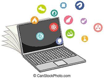 education, icône, isolé, ordinateur portable