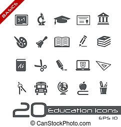 education, icônes, //, élémentsessentiels