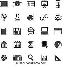 education, icônes, blanc, fond