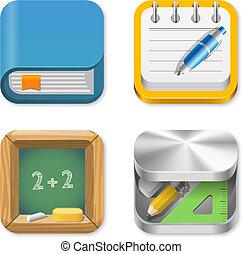 education, icônes, ensemble