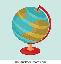 Education icon cartoon abstract stylized school globe.