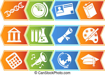 Education Icon Chevron Set