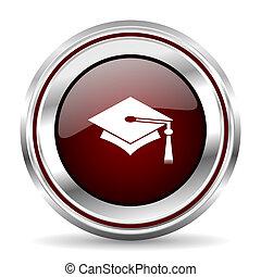 education icon chrome border round web button silver metallic pushbutton