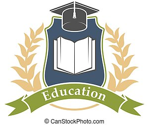Education icon emblem for university, college