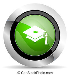 education icon, green button, graduation sign