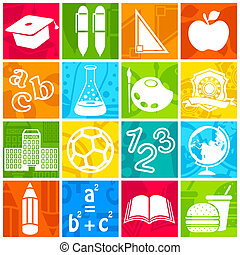 Education icon - illustration of education icon on colorful...