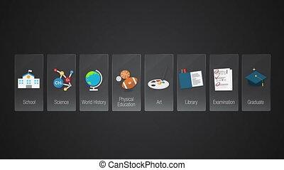Education icon set animation