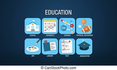 Education icon set animation
