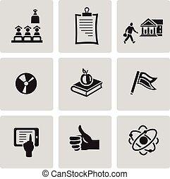 Education icon set. Black sign on gray background