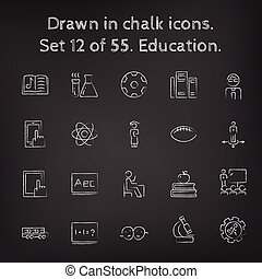 Education icon set drawn in chalk.