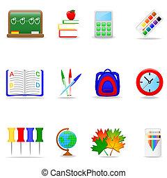 Education icon set - Icon set with school symbols