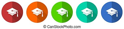 Education icon set, red, blue, green and orange flat design web buttons isolated on white background, vector illustration