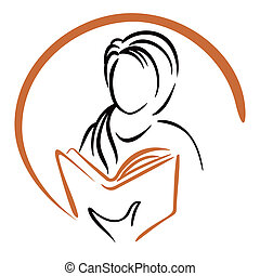 Education icon - Symbol of women learning from book