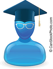 Education icon with graduent student in hat