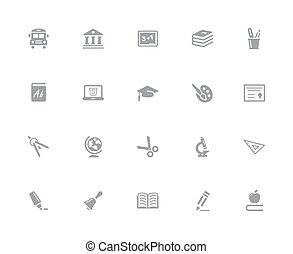 Education Icons // 32px White Series