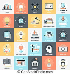 Education Icons - Abstract vector collection of colorful...