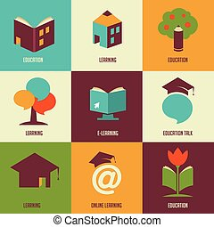 Education icons and symbols, online learning, graduation concept