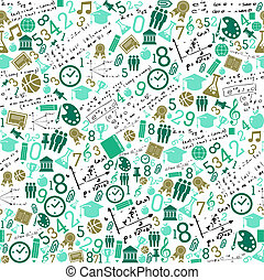 Education icons back to school seamless pattern.