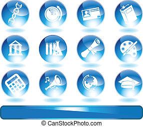 Education Icons Blue