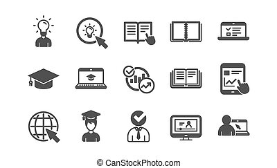 Education icons. Book, Video tutorial and Instructions. Classic icon set. Vector