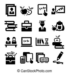 education icons - Elegant Vector Education And School Icons...