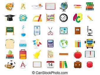 education icons - Vector illustration of school education...