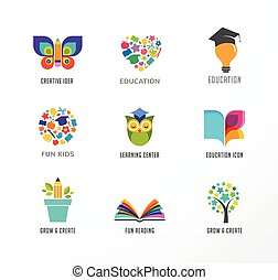 Education icons, elements set. Book, student hat, owl and tree symbols