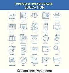 Education Icons - Futuro Blue 25 Icon pack