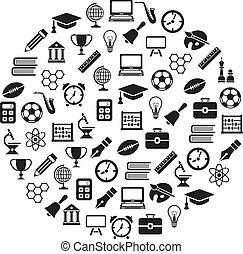 education icons in circle