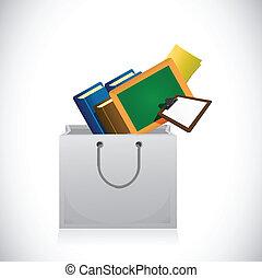education icons inside a shopping bag.
