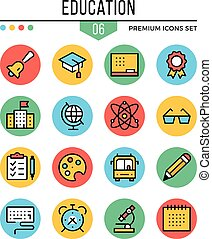 Education icons. Modern thin line icons set. Premium quality. Outline symbols, graphic elements, learning concepts, flat line icons. Vector illustration